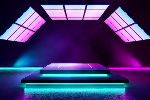 Rectangle stage with smoke and purple neon  light