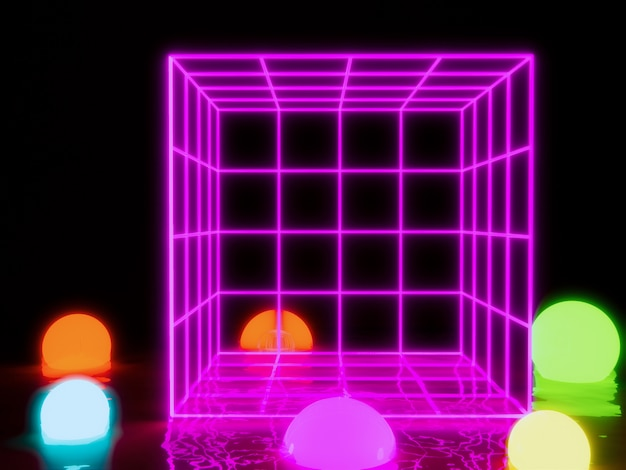 Rectangle wireframe glowing light