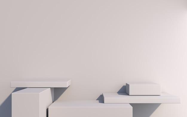 商品を灰色の3dレンダリングで表示するための、さまざまな高さの長方形の3d表彰台