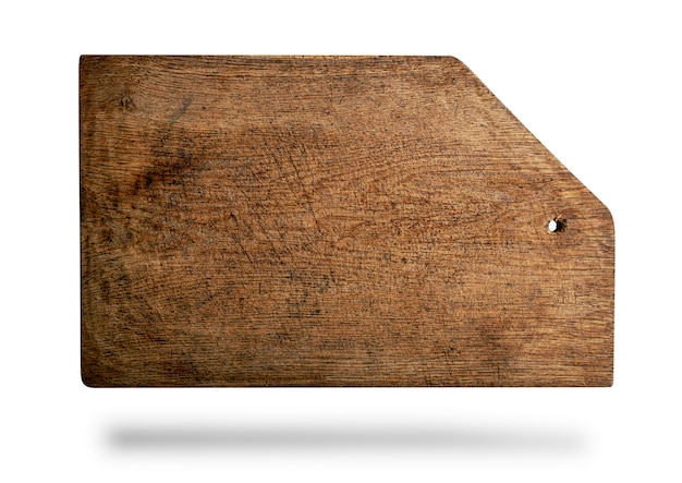 Rectangular brown old cutting board with bevelled corner