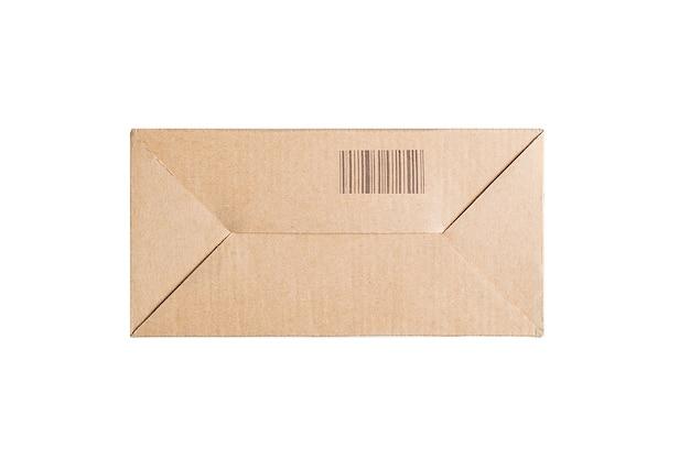 흰색 바탕에 바코드와 사각형 판지 상자입니다. 분리