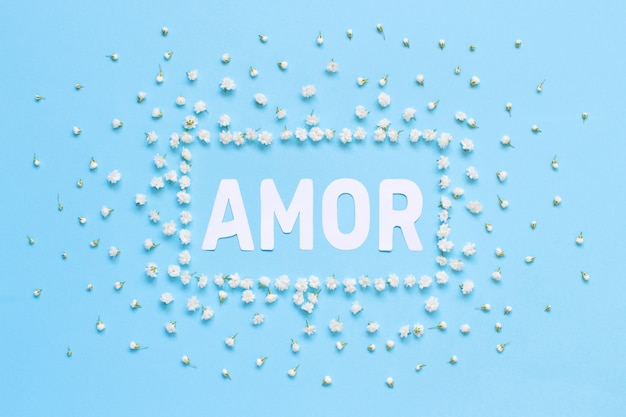 Rectangular floral frame and text amor on a light blue background top view