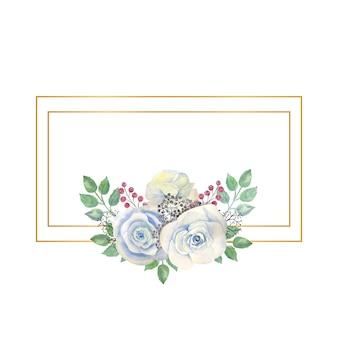 水彩花と長方形のゴールドフレーム