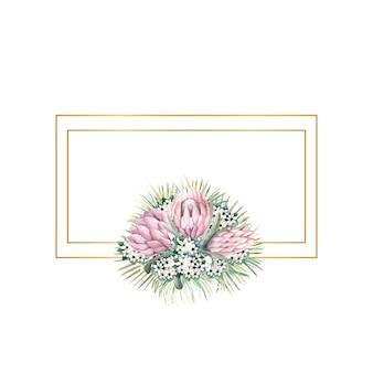 프로 테아 꽃, 열대 잎, 야자 잎, 부 바르 디아 꽃이있는 직사각형 골드 프레임