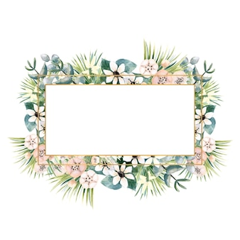 Rectangular gold frame with small flowers of actinidia bouvardia tropical and palm leaves