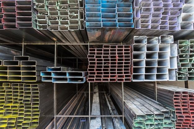 Rectangular metal pipe for construction