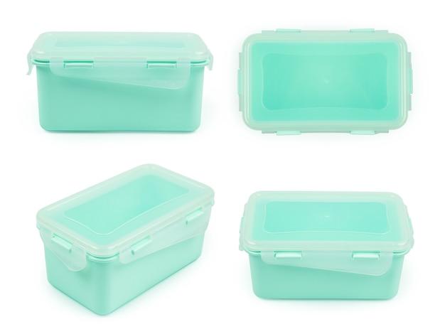 Прямоугольный мятный пластиковый контейнер для еды в четырех представлениях, изолированных на белом фоне