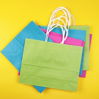 Rectangular multi colored paper shopping bags