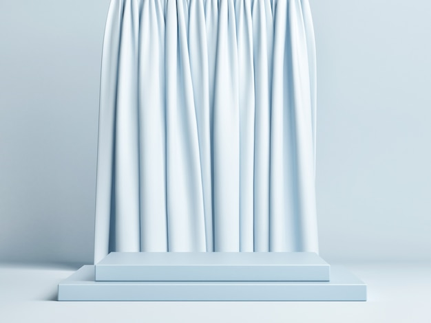 Rectangular podium composition with blue curtain background
