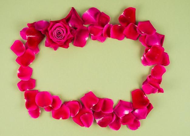 長方形の赤いバラ花弁のフレーム