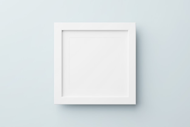 Rectangular wall picture photo frame mockup in blue background