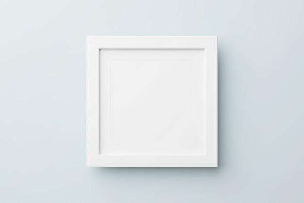 파란색 배경에 직사각형 벽 그림 사진 프레임 모형