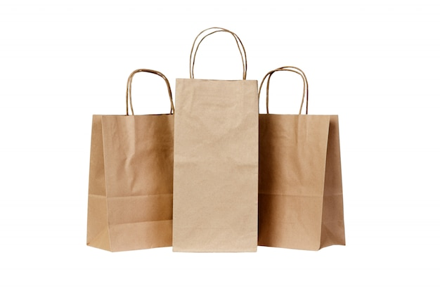 Recyclable paper bags isolated