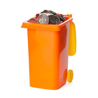 Recycle bin with coins isolated