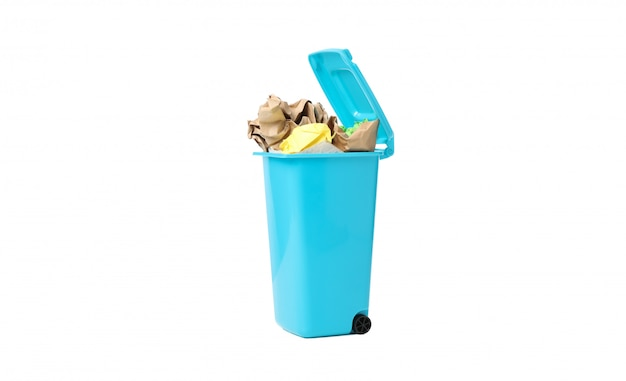 Recycle bin with trash isolated on white background