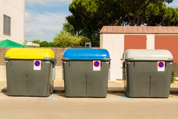 Recycle bins on the street. concept of save of the environment