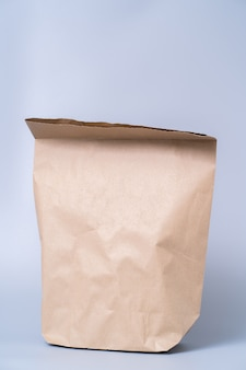 Recycle brown paper bag on gray