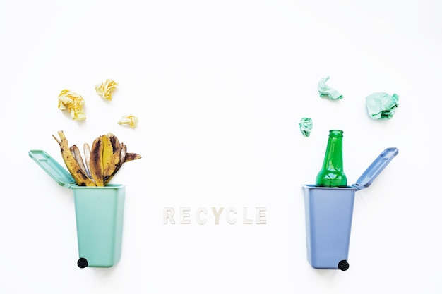 Recycle concept and trash bins