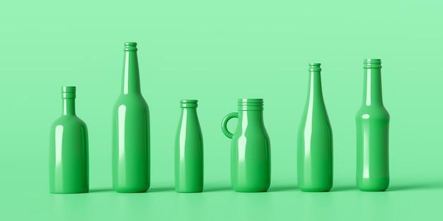 녹색 배경 3d 렌더링에 에코 병 유리 재활용