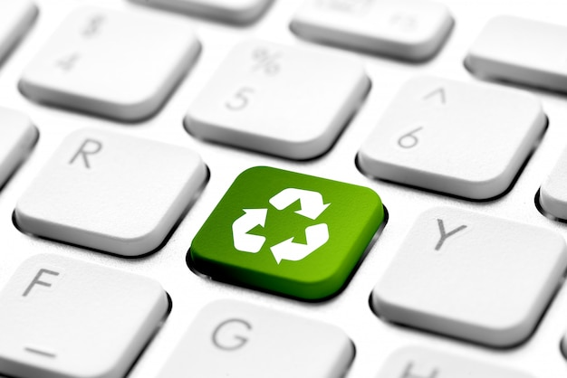 Recycle icon on computer keyboard for genn engery concept