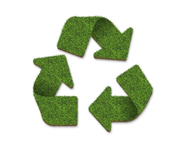 Recycle значок логотипа из текстуры зеленой травы, изолированных на белом