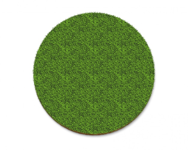 Recycle icon logo from green grass texture isolated on white