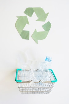 Recycle logo and basket with plastic garbage