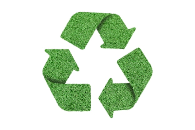 緑の草のリサイクルロゴシンボル、白で隔離