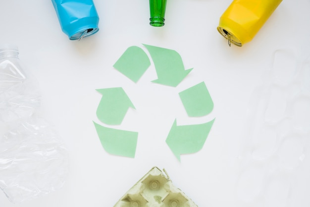 Recycle logo with rubbish