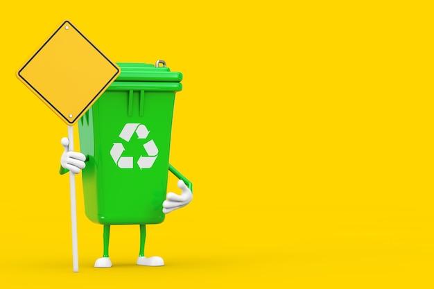 노란색 배경에 디자인을 위한 여유 공간이 있는 녹색 쓰레기 쓰레기통 캐릭터 마스코트와 노란색 도로 표지판을 재활용하세요. 3d 렌더링