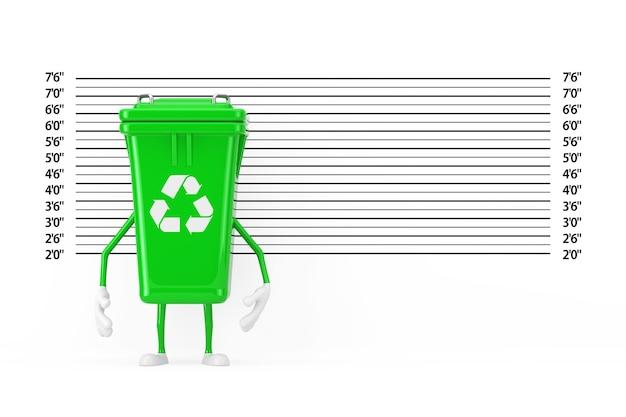 경찰 라인업 또는 mugshot 배경 극단적인 근접 촬영 앞에 있는 재활용 기호 녹색 쓰레기 쓰레기통 캐릭터 마스코트. 3d 렌더링