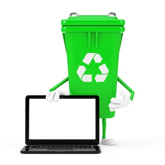 Recycle sign green garbage trash bin character mascot and modern laptop computer with white screen for your design on a white background. 3d rendering
