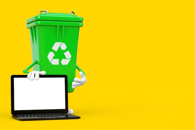 Recycle sign green garbage trash bin character mascot and modern laptop computer with white screen for your design on a yellow background. 3d rendering