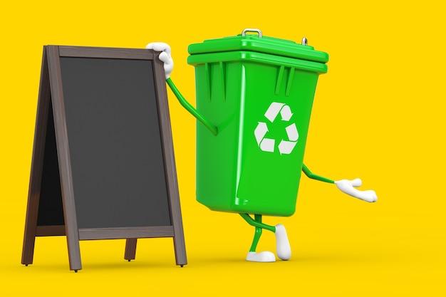 黄色の背景に空白の木製メニュー黒板屋外ディスプレイとサイン緑のゴミ箱のキャラクターマスコットをリサイクルします。 3dレンダリング