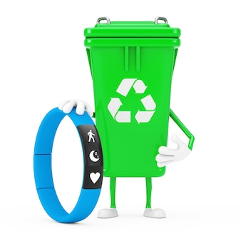 Recycle sign green garbage trash bin character mascot with blue fitness tracker on a white background. 3d rendering