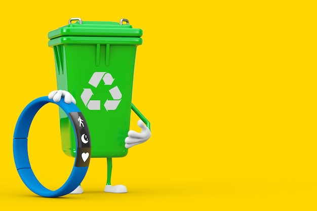 Recycle sign green garbage trash bin character mascot with blue fitness tracker on a yellow background. 3d rendering
