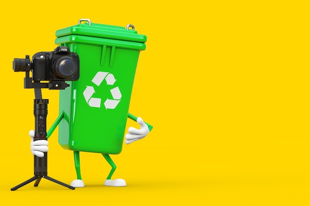 Recycle sign green garbage trash bin character mascot with dslr or video camera gimbal stabilization tripod system on a yellow background. 3d rendering