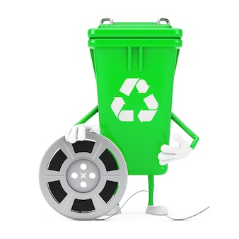 Recycle sign green garbage trash bin character mascot with film reel cinema tape on a white background. 3d rendering