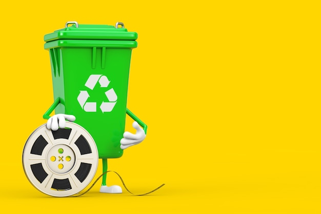 Recycle sign green garbage trash bin character mascot with film reel cinema tape on a yellow background. 3d rendering
