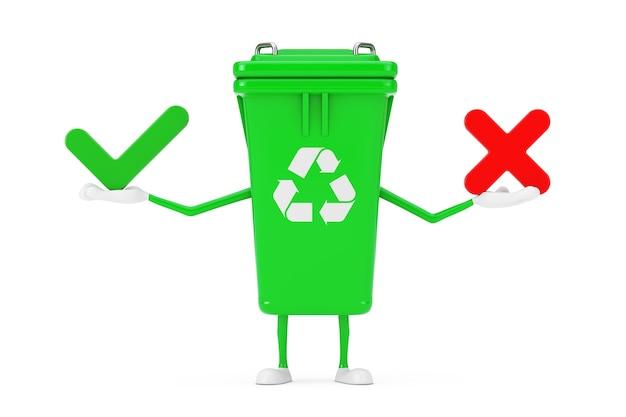 흰색 바탕에 적십자 및 녹색 확인 표시가 있는 녹색 쓰레기 쓰레기통 캐릭터 마스코트, 확인 또는 거부, 예 또는 아니오 아이콘 기호를 재활용합니다. 3d 렌더링