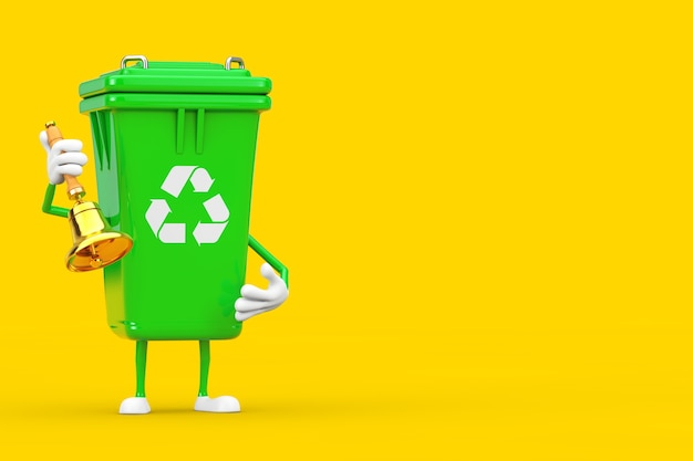 Recycle sign green garbage trash bin character mascot with vintage golden school bell on a yellow background. 3d rendering