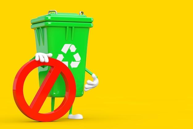 노란색 배경에 빨간색 금지 또는 금지 기호가 있는 녹색 쓰레기 쓰레기통 사람 캐릭터 마스코트를 재활용하세요. 3d 렌더링