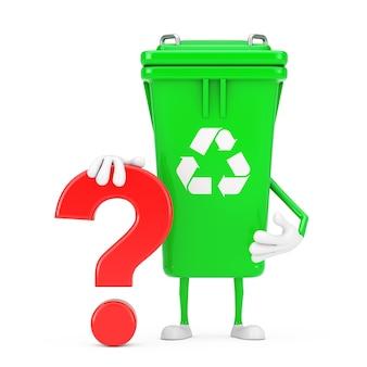リサイクルサイン緑のゴミ箱の人のキャラクターのマスコット、白い背景に赤い疑問符のサイン。 3dレンダリング