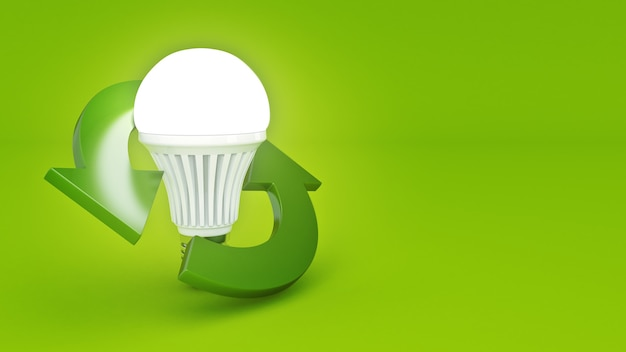Recycle sign with led bulb 3d rendering