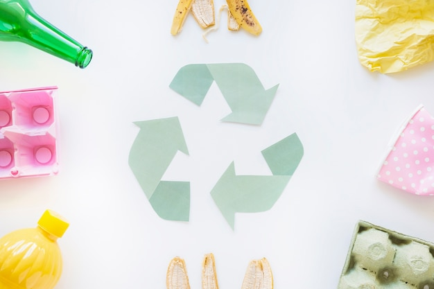 Recycle symbol with garbage