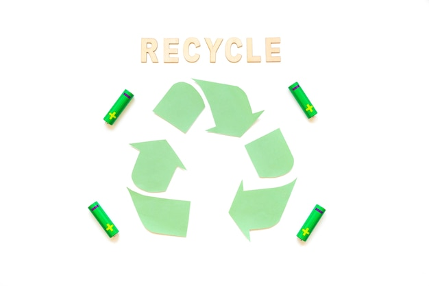 Recycle word with logo and batteries