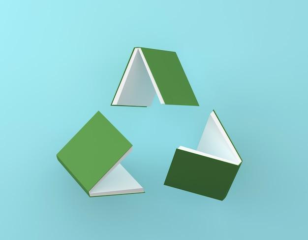 Recycle логотип, креативная идея макет зеленой книги цикла переработанного значка на синем фоне.