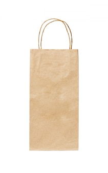 Recycled paper kraft long shopping bag isolated on white
