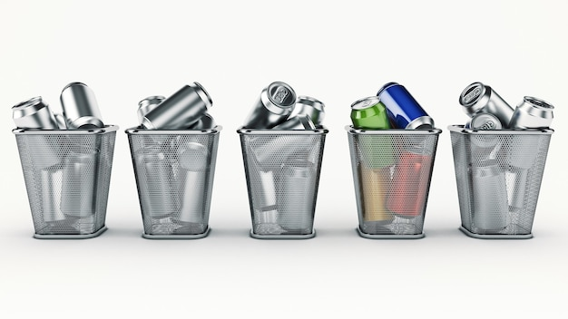 Recycling concept drink cans in the trash bin 3d rendering