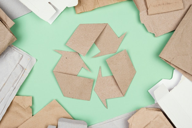 Recycling concept flat lay